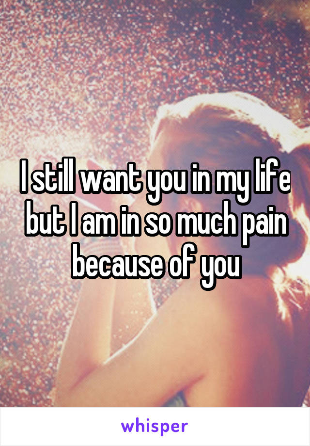 I still want you in my life but I am in so much pain because of you