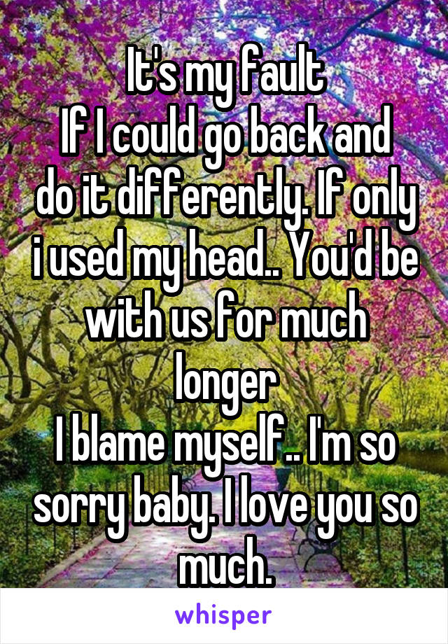 It's my fault If I could go back and do it differently. If only i used my head.. You'd be with us for much longer I blame myself.. I'm so sorry baby. I love you so much.