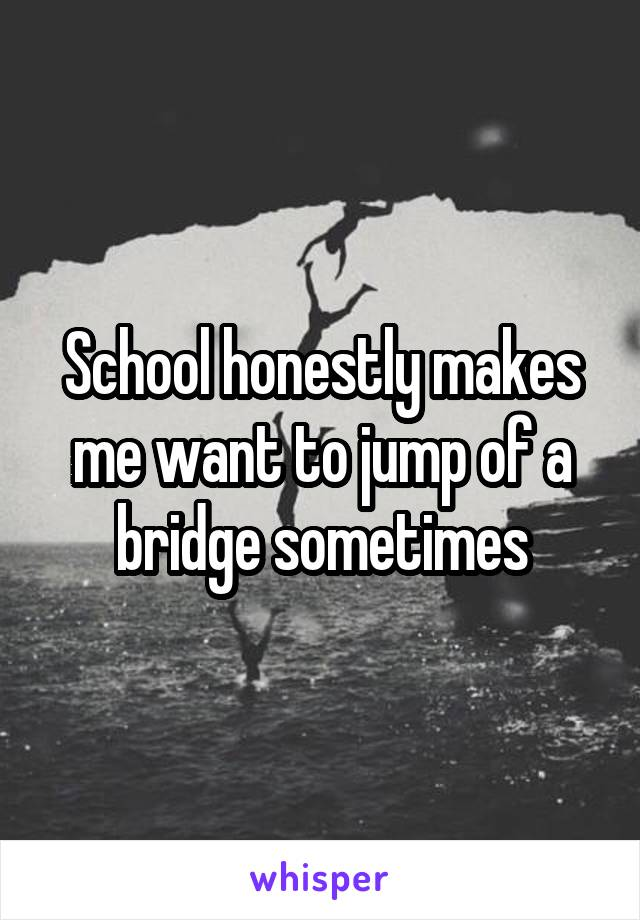 School honestly makes me want to jump of a bridge sometimes