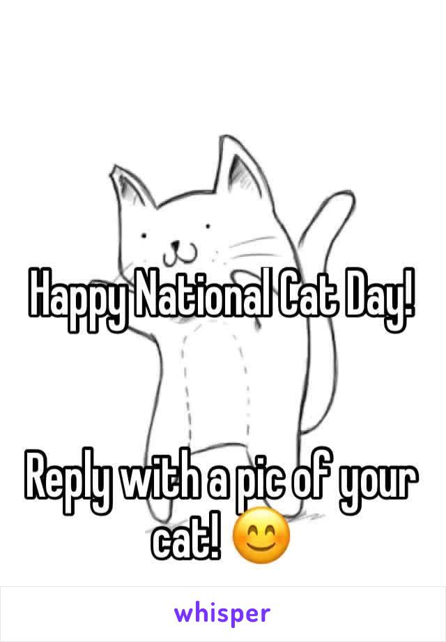 Happy National Cat Day!   Reply with a pic of your cat! 😊