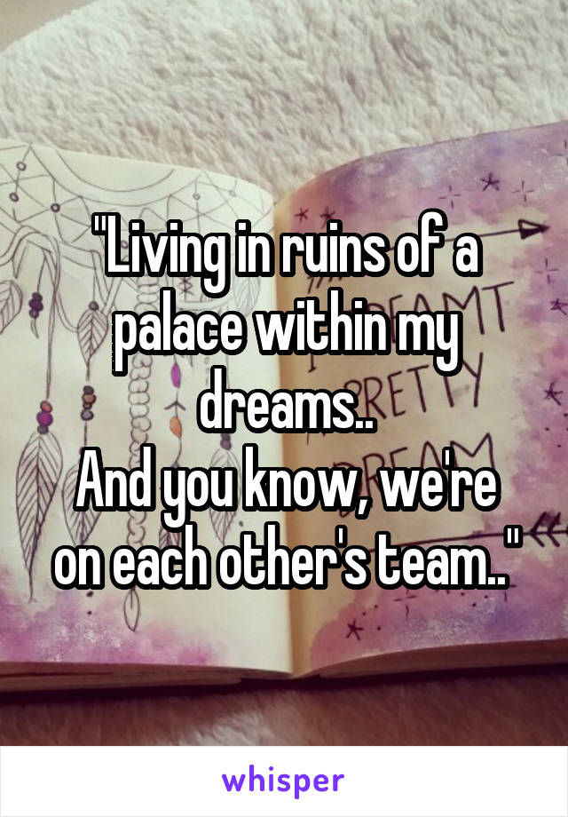 """""""Living in ruins of a palace within my dreams.. And you know, we're on each other's team.."""""""