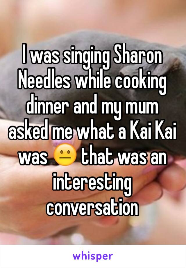 I was singing Sharon Needles while cooking dinner and my mum asked me what a Kai Kai was 😐 that was an interesting conversation