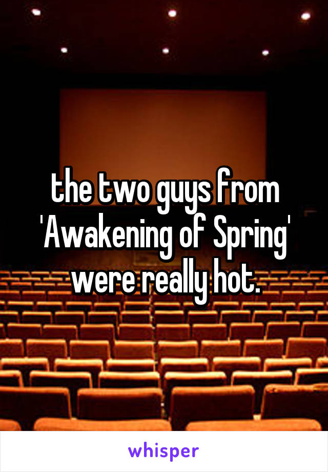 the two guys from 'Awakening of Spring' were really hot.