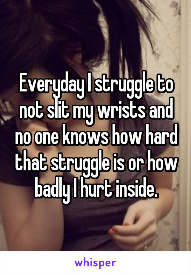 Everyday I struggle to not slit my wrists and no one knows how hard that struggle is or how badly I hurt inside.
