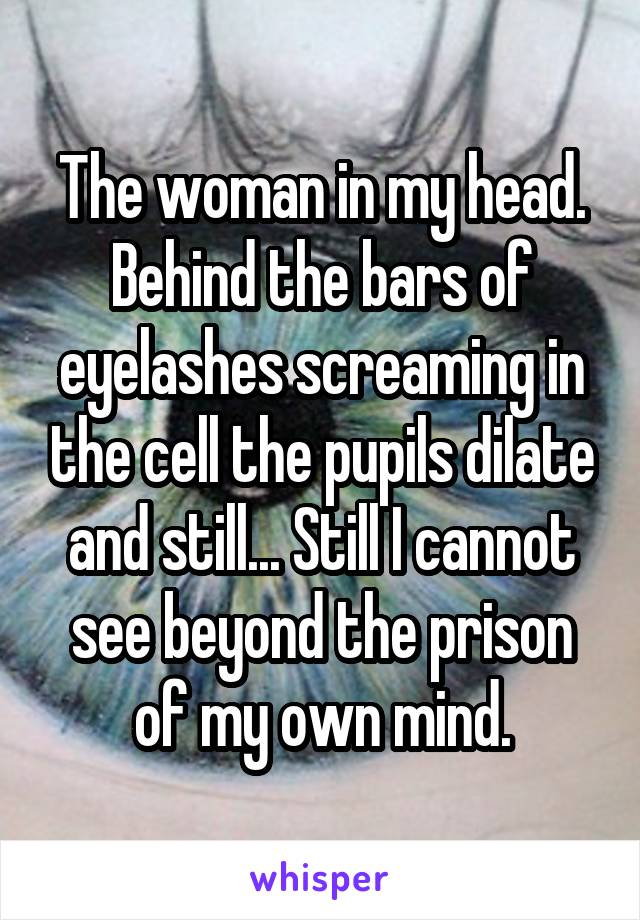 The woman in my head. Behind the bars of eyelashes screaming in the cell the pupils dilate and still... Still I cannot see beyond the prison of my own mind.