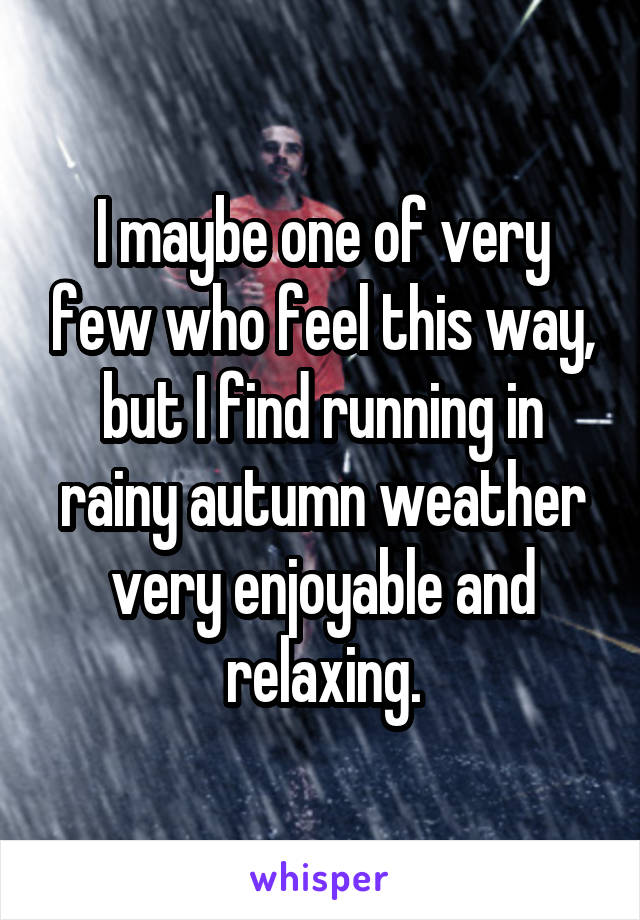 I maybe one of very few who feel this way, but I find running in rainy autumn weather very enjoyable and relaxing.