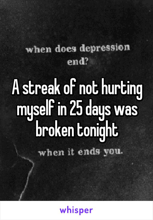 A streak of not hurting myself in 25 days was broken tonight