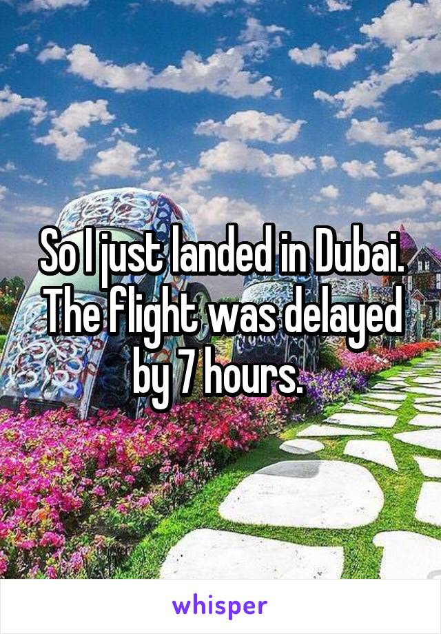 So I just landed in Dubai. The flight was delayed by 7 hours.