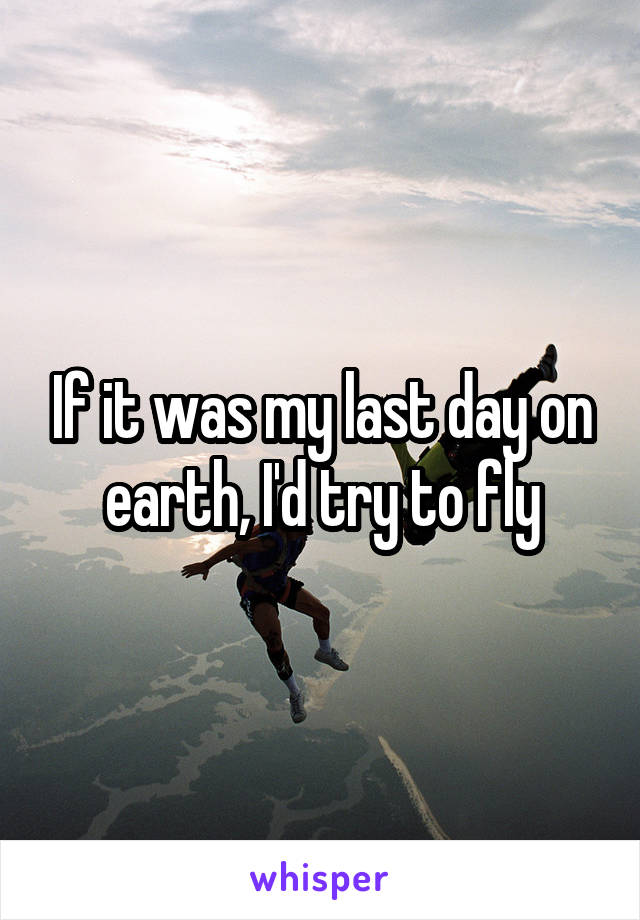 If it was my last day on earth, I'd try to fly