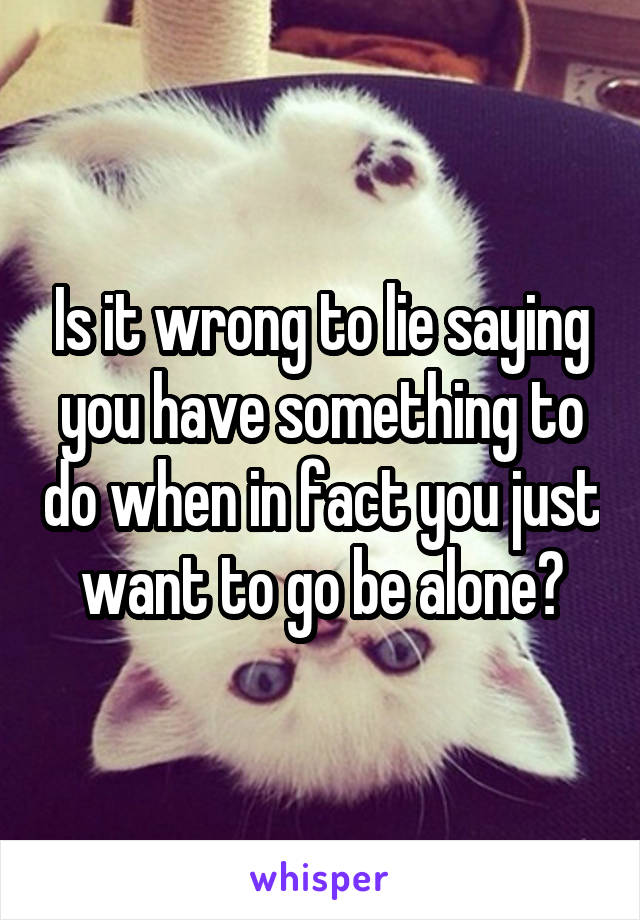 Is it wrong to lie saying you have something to do when in fact you just want to go be alone?