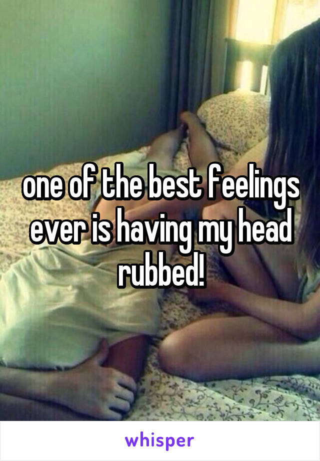 one of the best feelings ever is having my head rubbed!