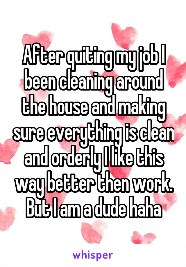 After quiting my job I been cleaning around the house and making sure everything is clean and orderly I like this way better then work. But I am a dude haha