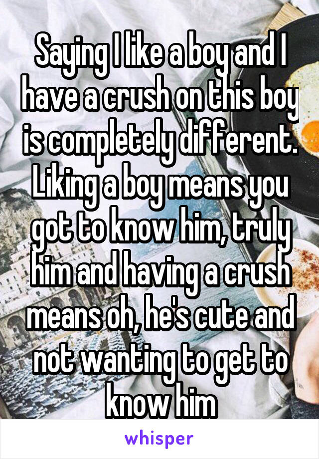 Saying I like a boy and I have a crush on this boy is completely different. Liking a boy means you got to know him, truly him and having a crush means oh, he's cute and not wanting to get to know him