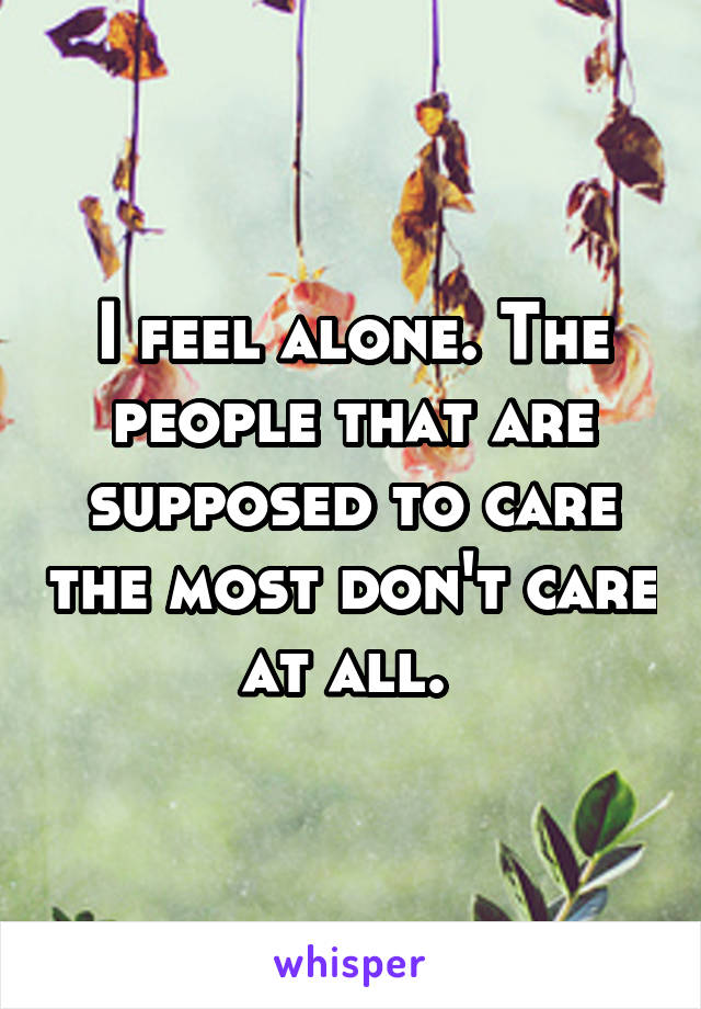 I feel alone. The people that are supposed to care the most don't care at all.