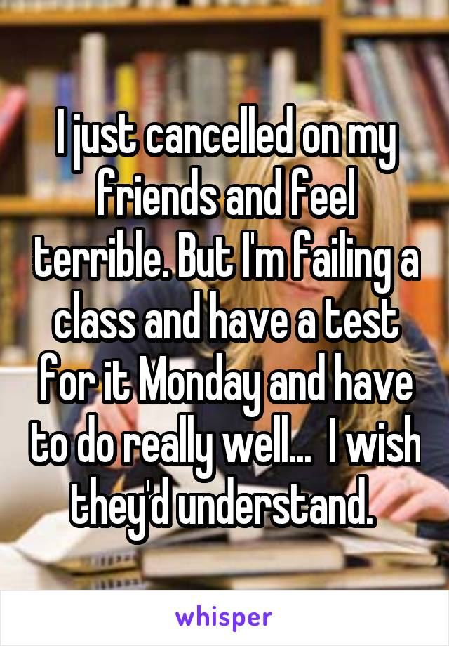 I just cancelled on my friends and feel terrible. But I'm failing a class and have a test for it Monday and have to do really well...  I wish they'd understand.