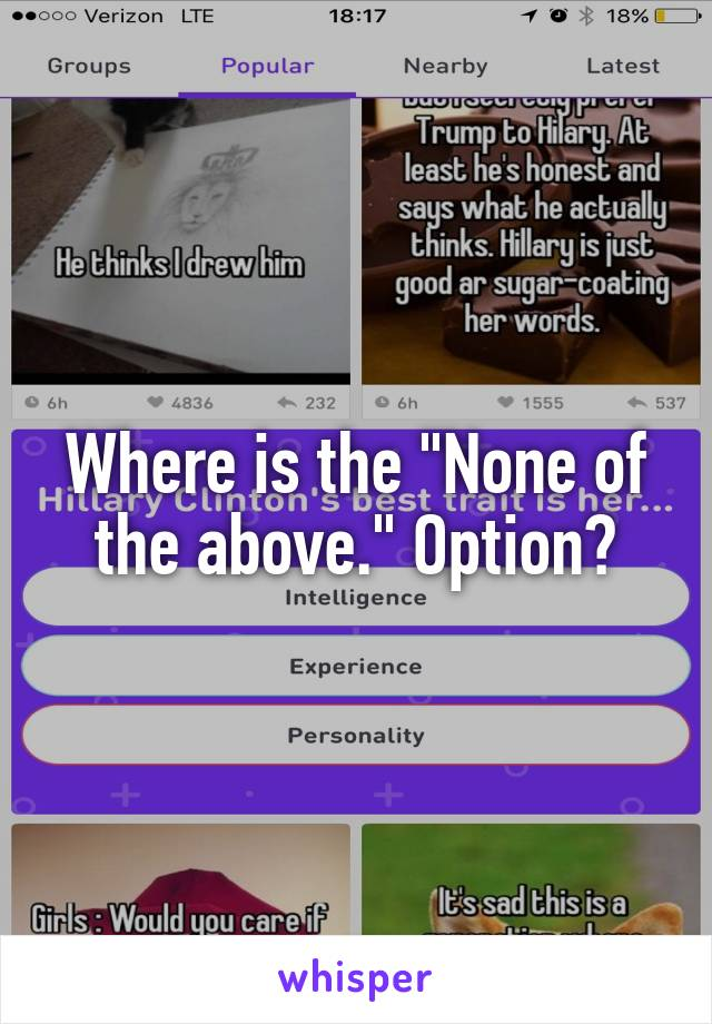"""Where is the """"None of the above."""" Option?"""