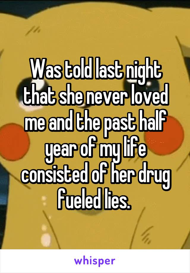Was told last night that she never loved me and the past half year of my life consisted of her drug fueled lies.