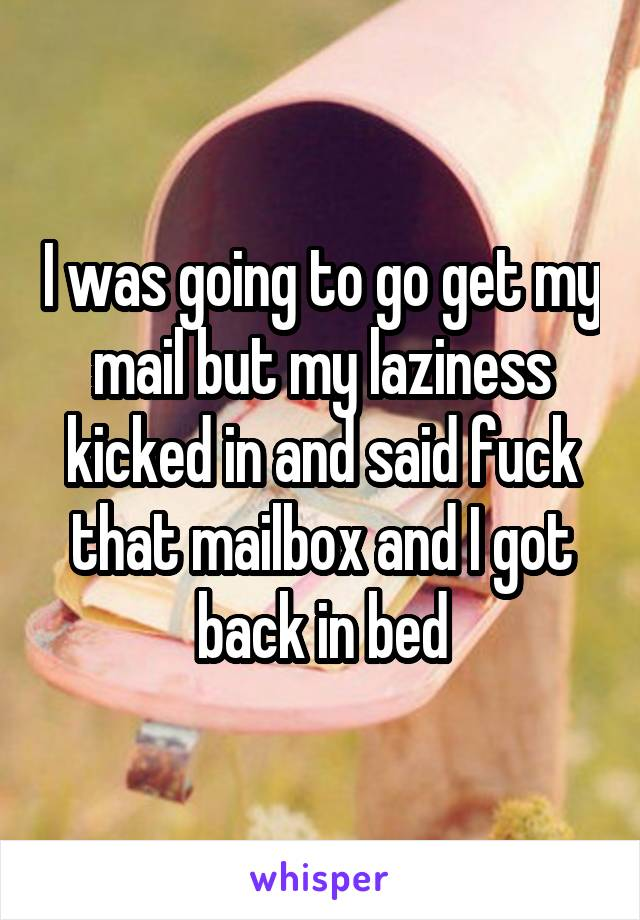 I was going to go get my mail but my laziness kicked in and said fuck that mailbox and I got back in bed