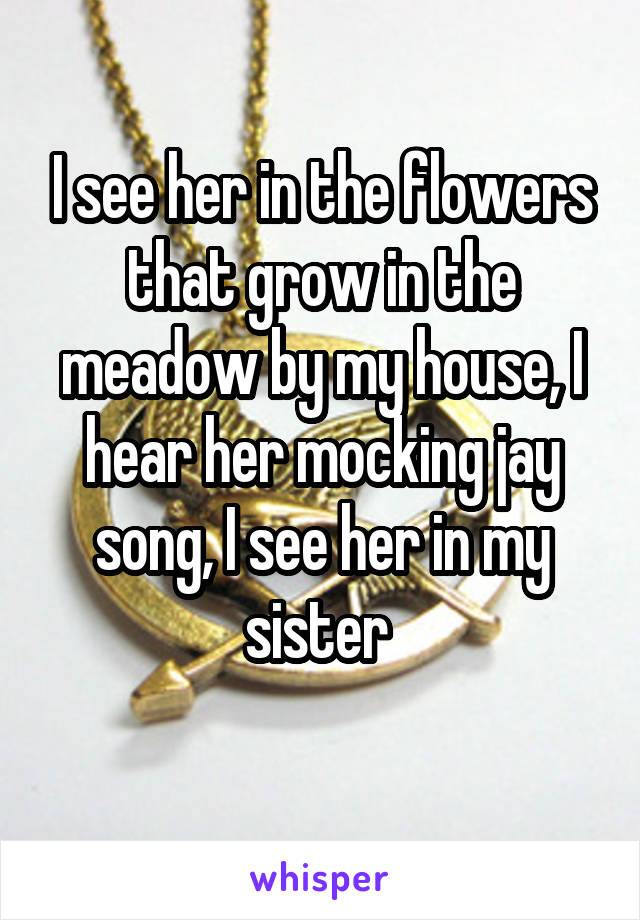 I see her in the flowers that grow in the meadow by my house, I hear her mocking jay song, I see her in my sister