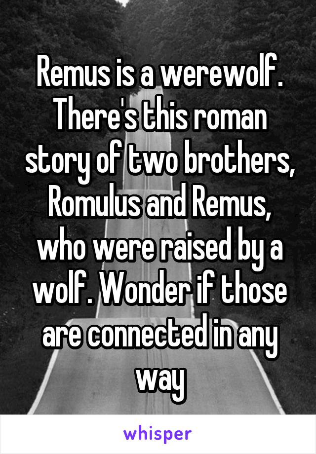 Remus is a werewolf. There's this roman story of two brothers, Romulus and Remus, who were raised by a wolf. Wonder if those are connected in any way
