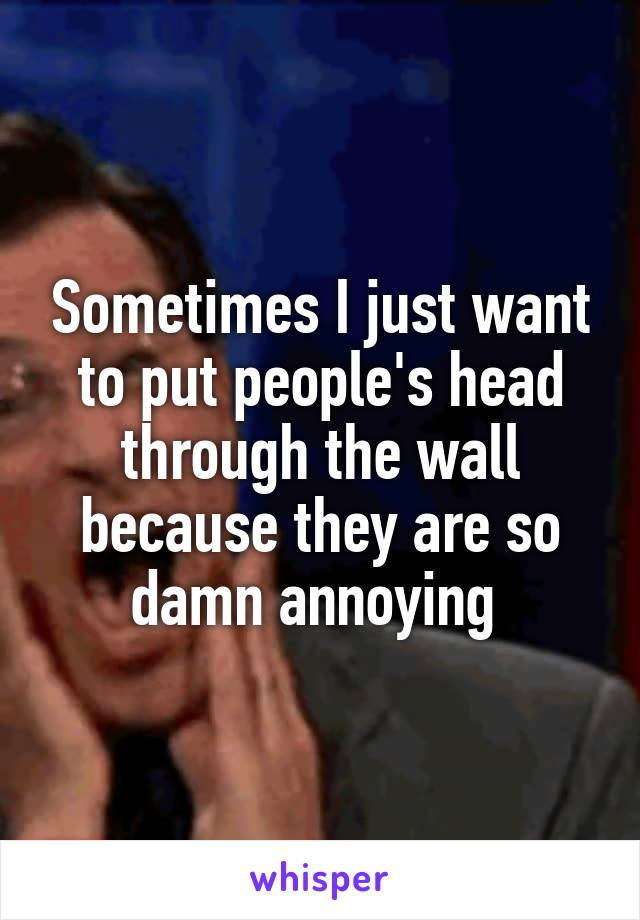 Sometimes I just want to put people's head through the wall because they are so damn annoying