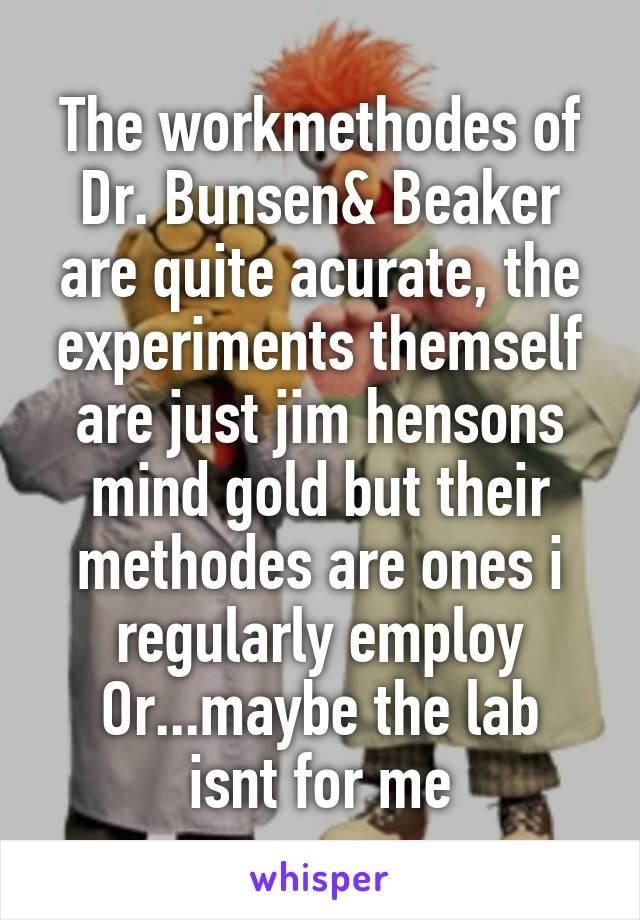 The workmethodes of Dr. Bunsen& Beaker are quite acurate, the experiments themself are just jim hensons mind gold but their methodes are ones i regularly employ Or...maybe the lab isnt for me