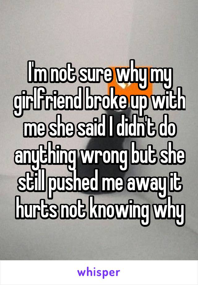 I'm not sure why my girlfriend broke up with me she said I didn't do anything wrong but she still pushed me away it hurts not knowing why
