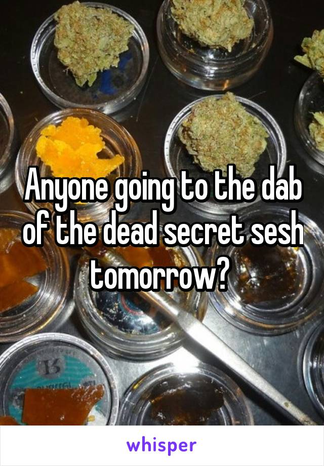 Anyone going to the dab of the dead secret sesh tomorrow?