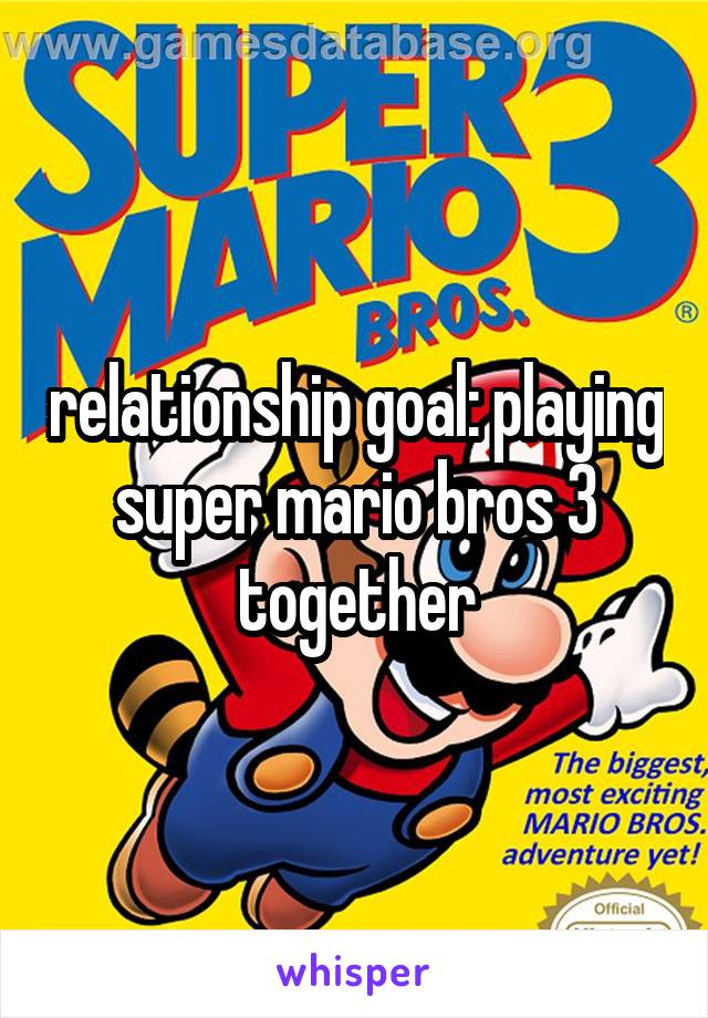 relationship goal: playing super mario bros 3 together