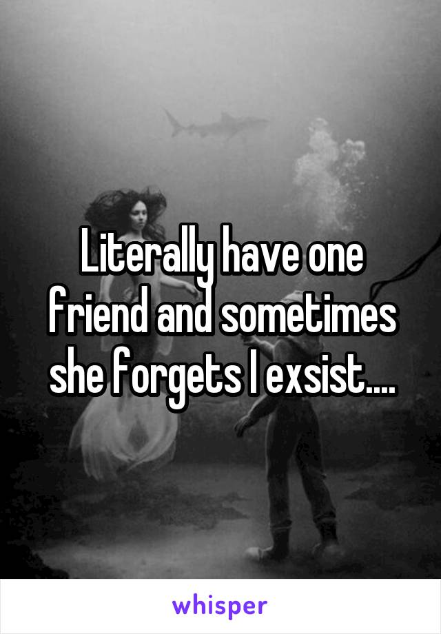 Literally have one friend and sometimes she forgets I exsist....