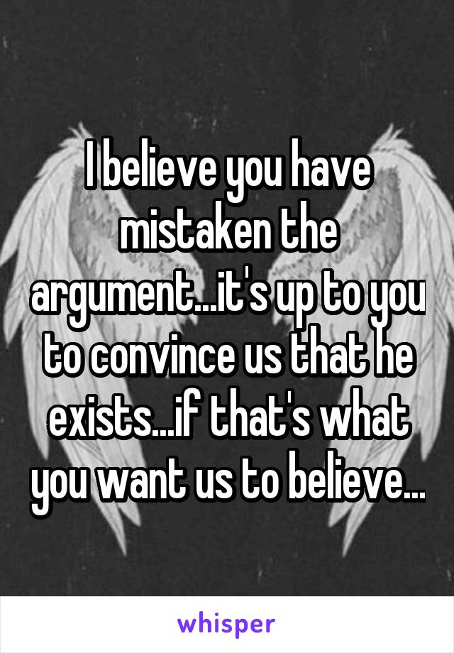 I believe you have mistaken the argument...it's up to you to convince us that he exists...if that's what you want us to believe...