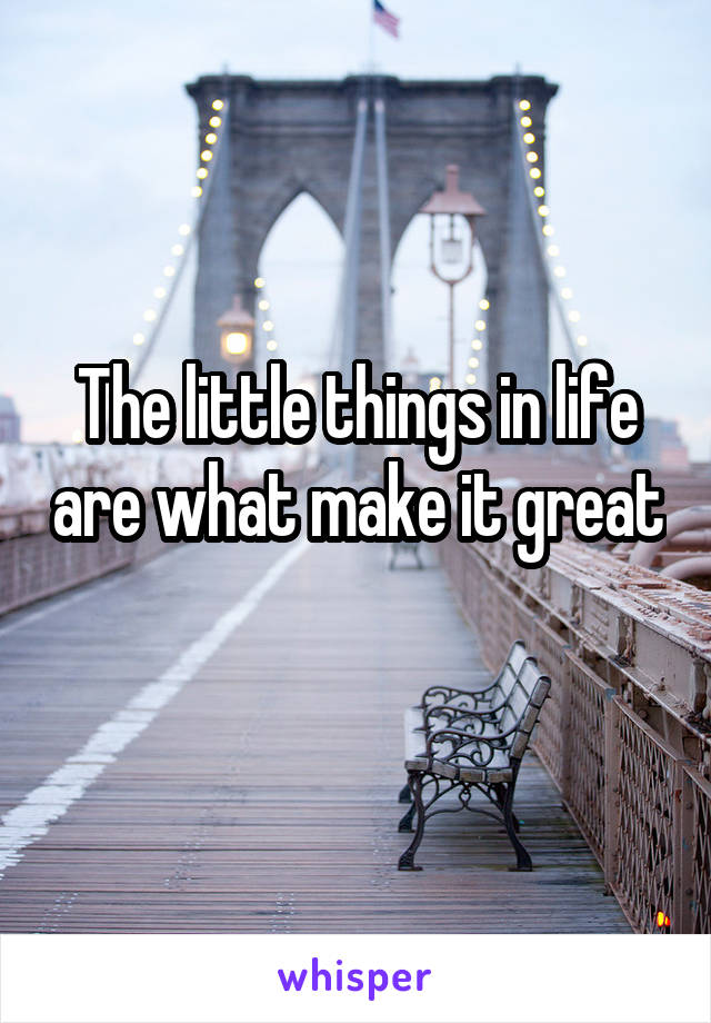The little things in life are what make it great