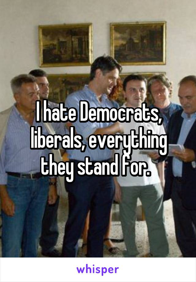 I hate Democrats, liberals, everything they stand for.