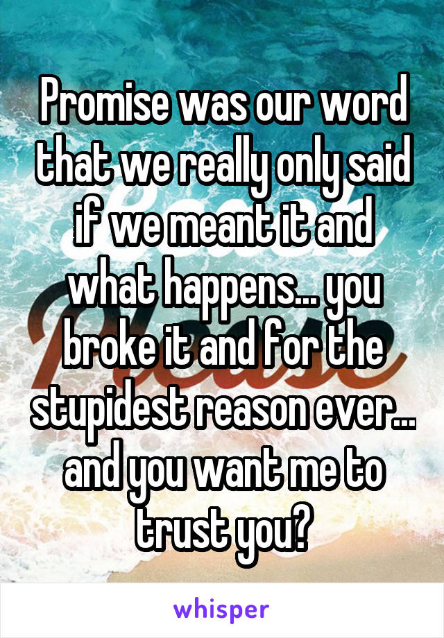 Promise was our word that we really only said if we meant it and what happens... you broke it and for the stupidest reason ever... and you want me to trust you?