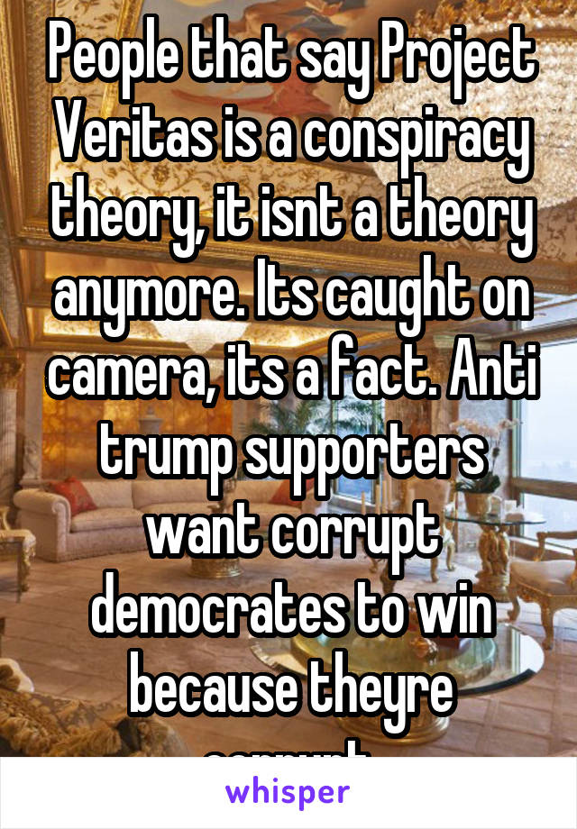 People that say Project Veritas is a conspiracy theory, it isnt a theory anymore. Its caught on camera, its a fact. Anti trump supporters want corrupt democrates to win because theyre corrupt.