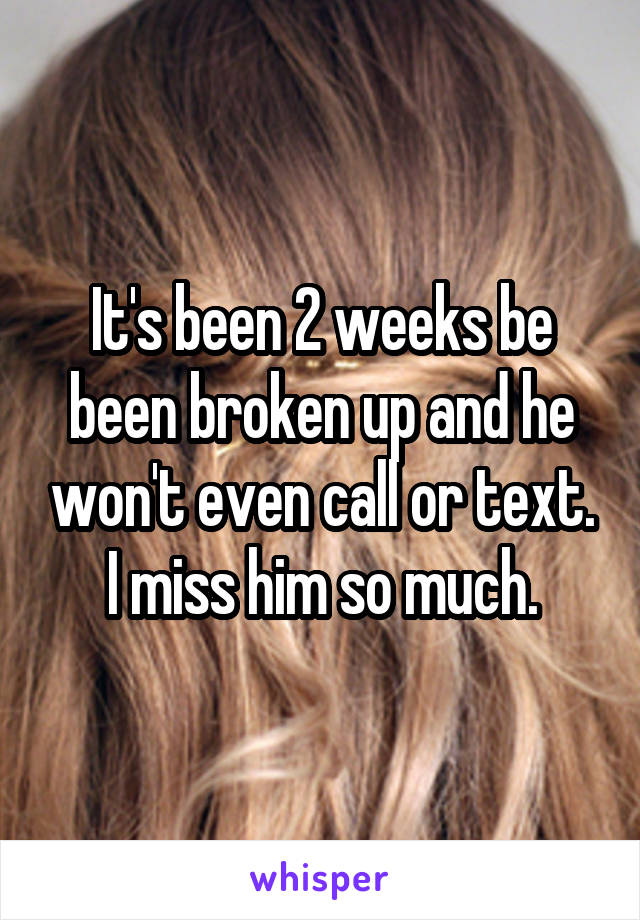 It's been 2 weeks be been broken up and he won't even call or text. I miss him so much.