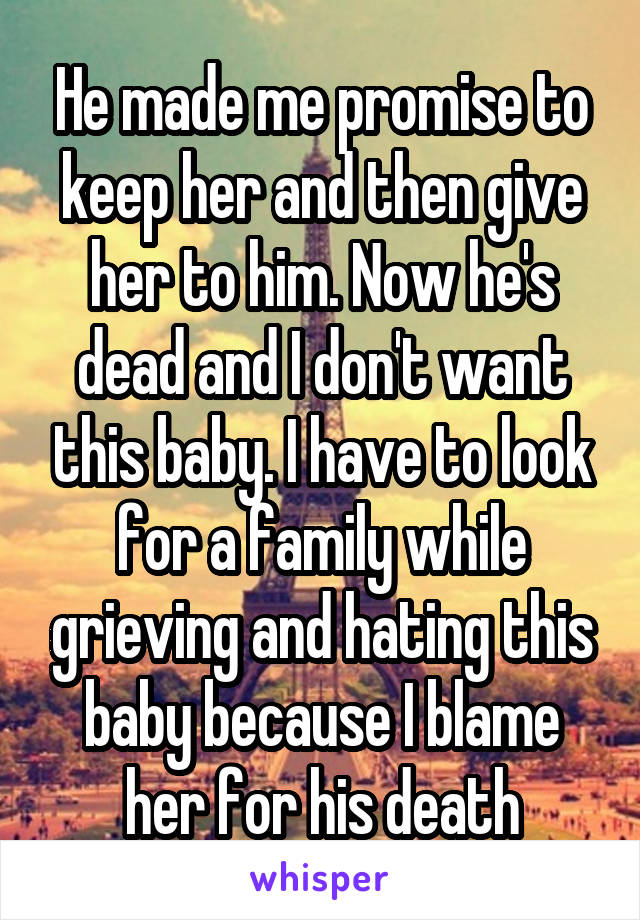 He made me promise to keep her and then give her to him. Now he's dead and I don't want this baby. I have to look for a family while grieving and hating this baby because I blame her for his death