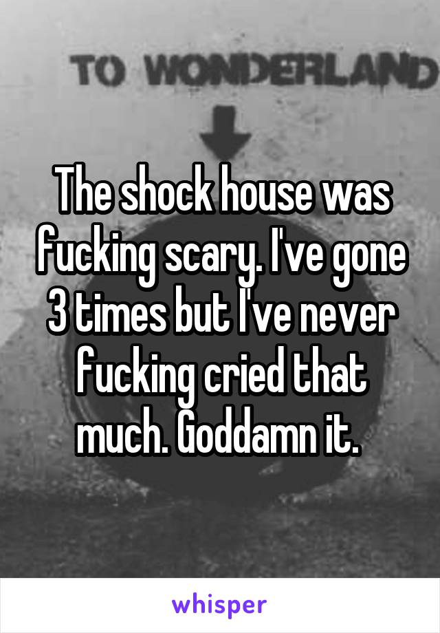 The shock house was fucking scary. I've gone 3 times but I've never fucking cried that much. Goddamn it.