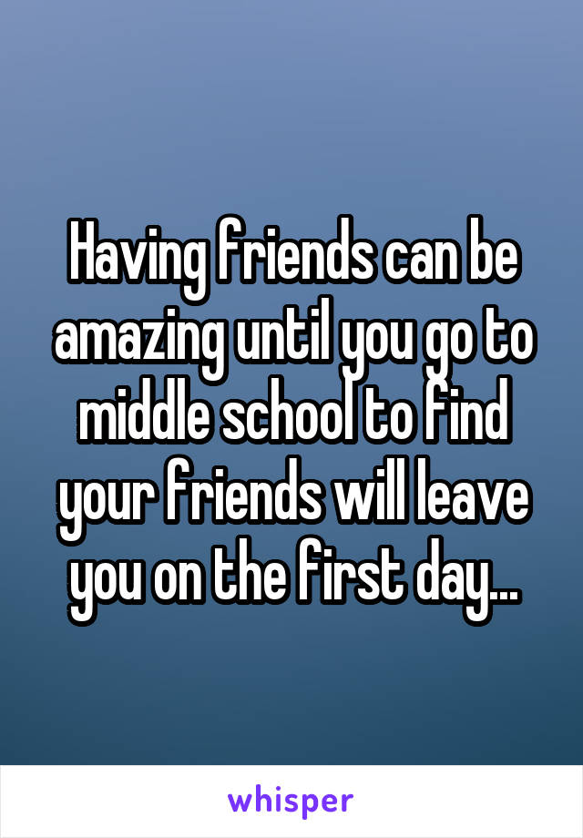 Having friends can be amazing until you go to middle school to find your friends will leave you on the first day...