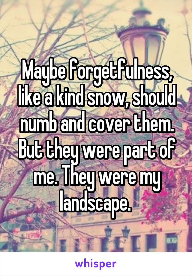 Maybe forgetfulness, like a kind snow, should numb and cover them. But they were part of me. They were my landscape.