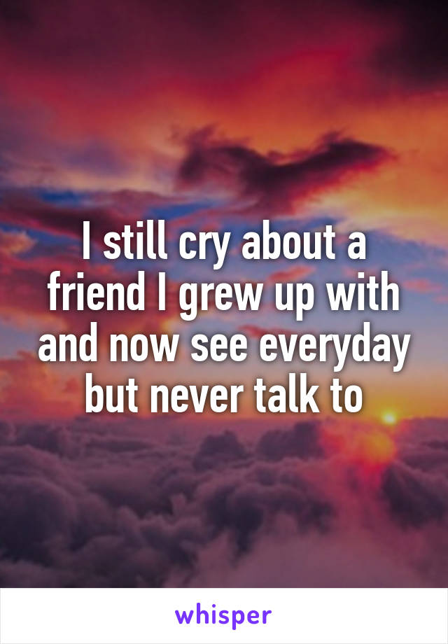 I still cry about a friend I grew up with and now see everyday but never talk to