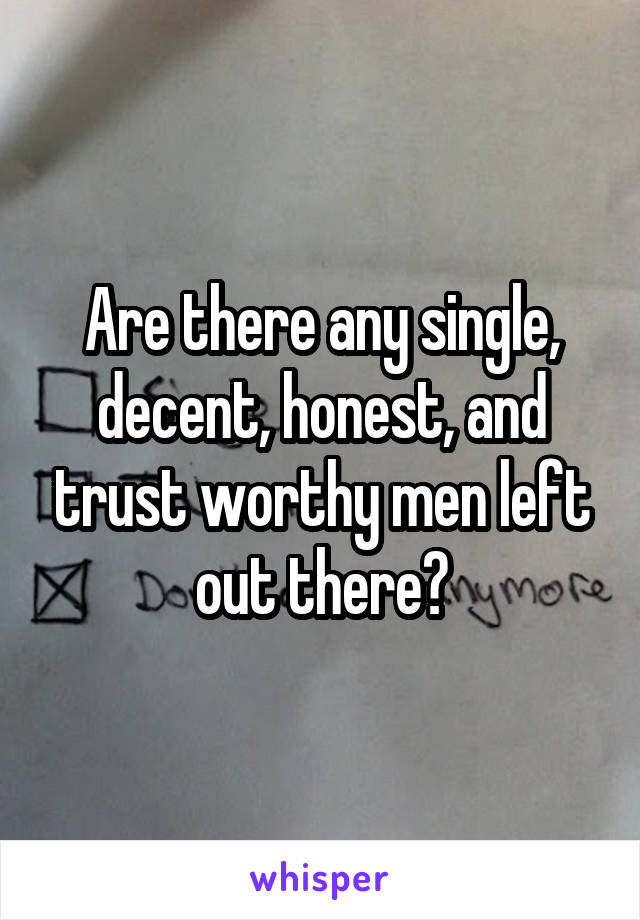 Are there any single, decent, honest, and trust worthy men left out there?