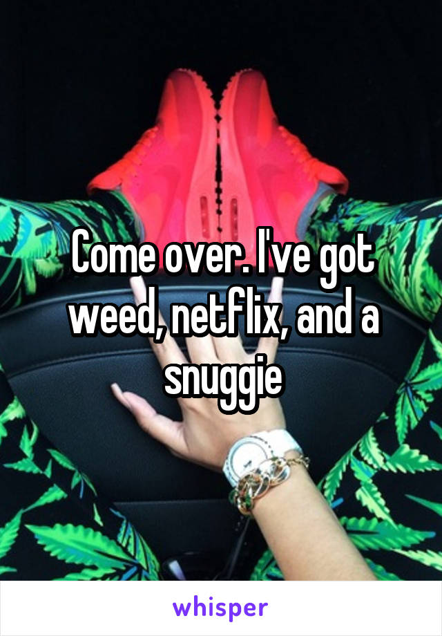 Come over. I've got weed, netflix, and a snuggie