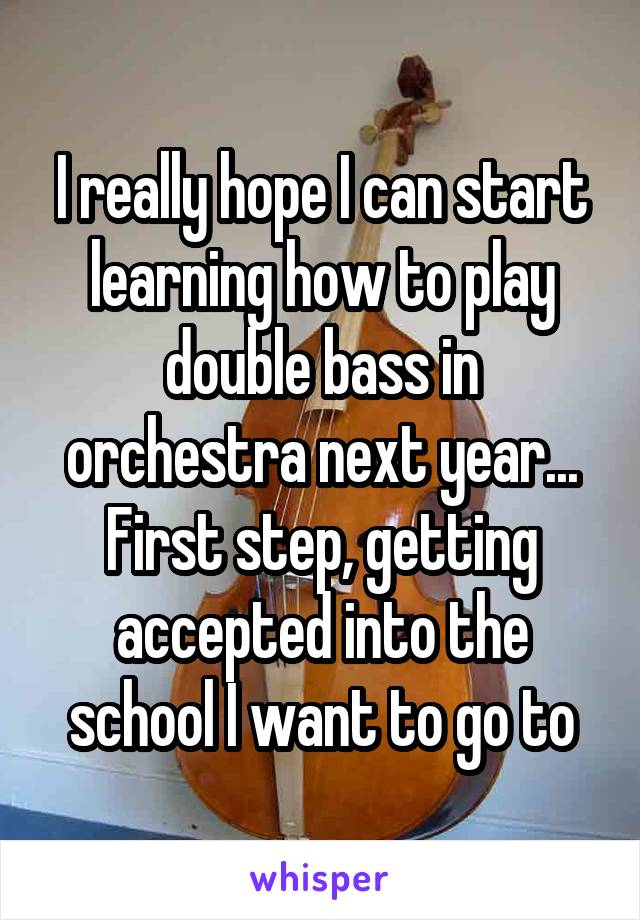 I really hope I can start learning how to play double bass in orchestra next year... First step, getting accepted into the school I want to go to