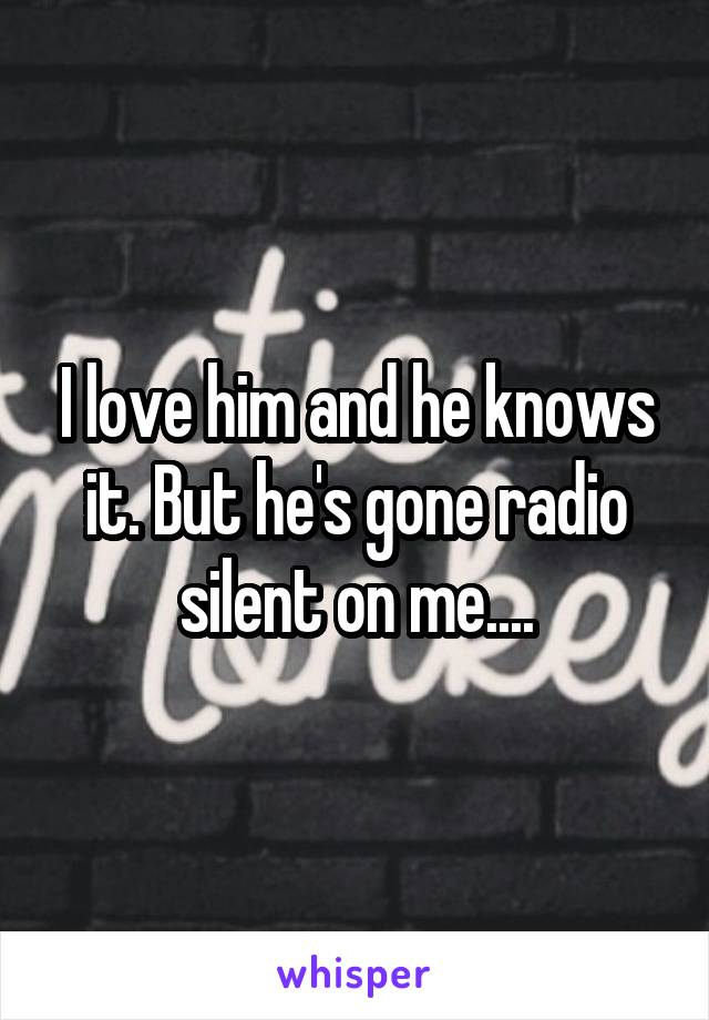 I love him and he knows it. But he's gone radio silent on me....