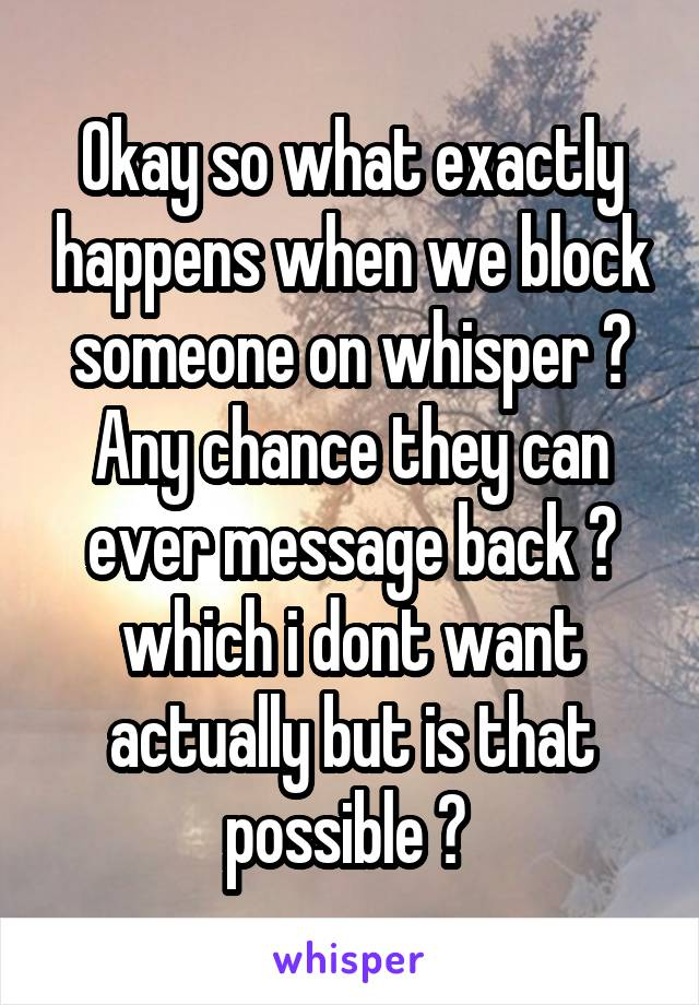 Okay so what exactly happens when we block someone on whisper ? Any chance they can ever message back ? which i dont want actually but is that possible ?