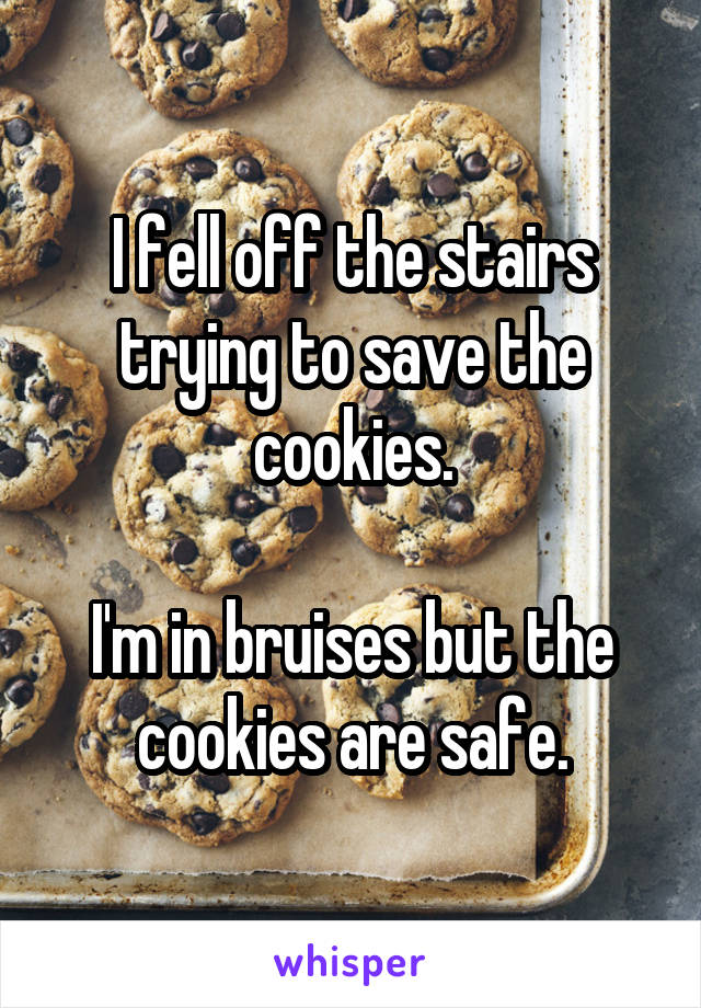 I fell off the stairs trying to save the cookies.  I'm in bruises but the cookies are safe.