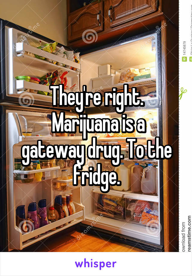 They're right.  Marijuana is a gateway drug. To the fridge.