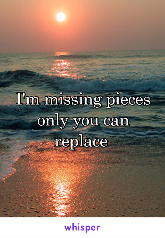 I'm missing pieces only you can replace