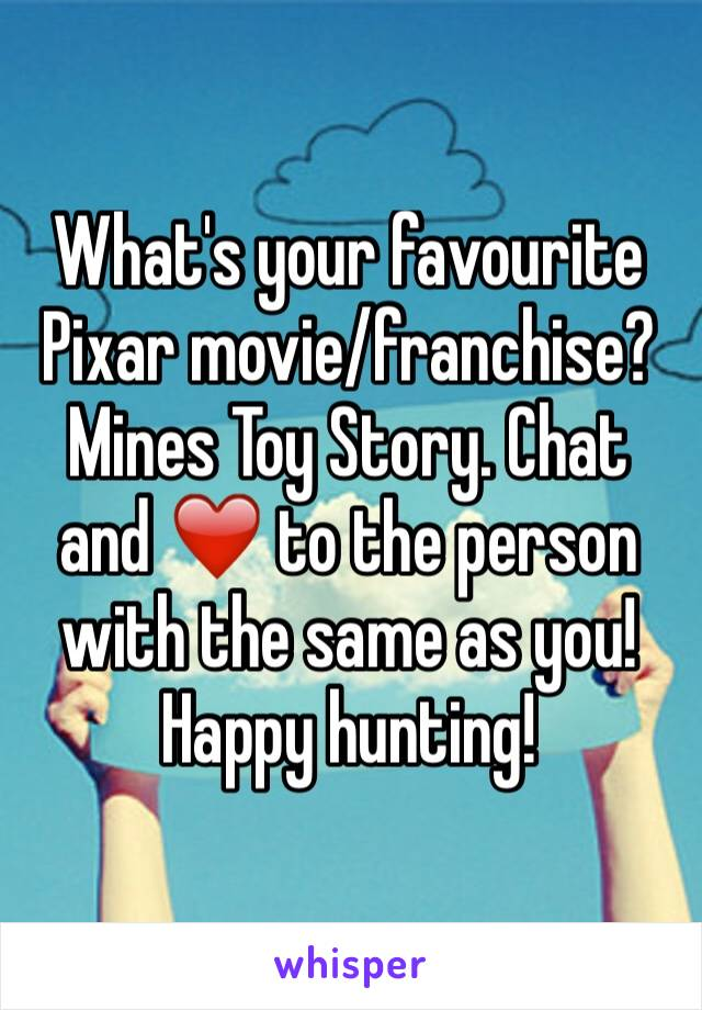 What's your favourite Pixar movie/franchise? Mines Toy Story. Chat and ❤️ to the person with the same as you! Happy hunting!
